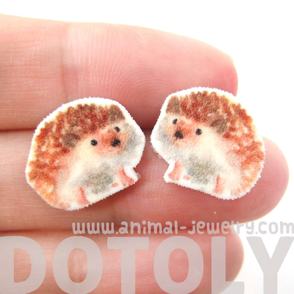 Hedgehog Porcupine Animal Illustration Stud Earrings | Handmade Shrink Plastic | DOTOLY