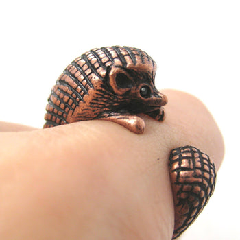 Hedgehog Porcupine Animal Wrap Around Ring in Copper | Sizes 4 to 9 Available | DOTOLY