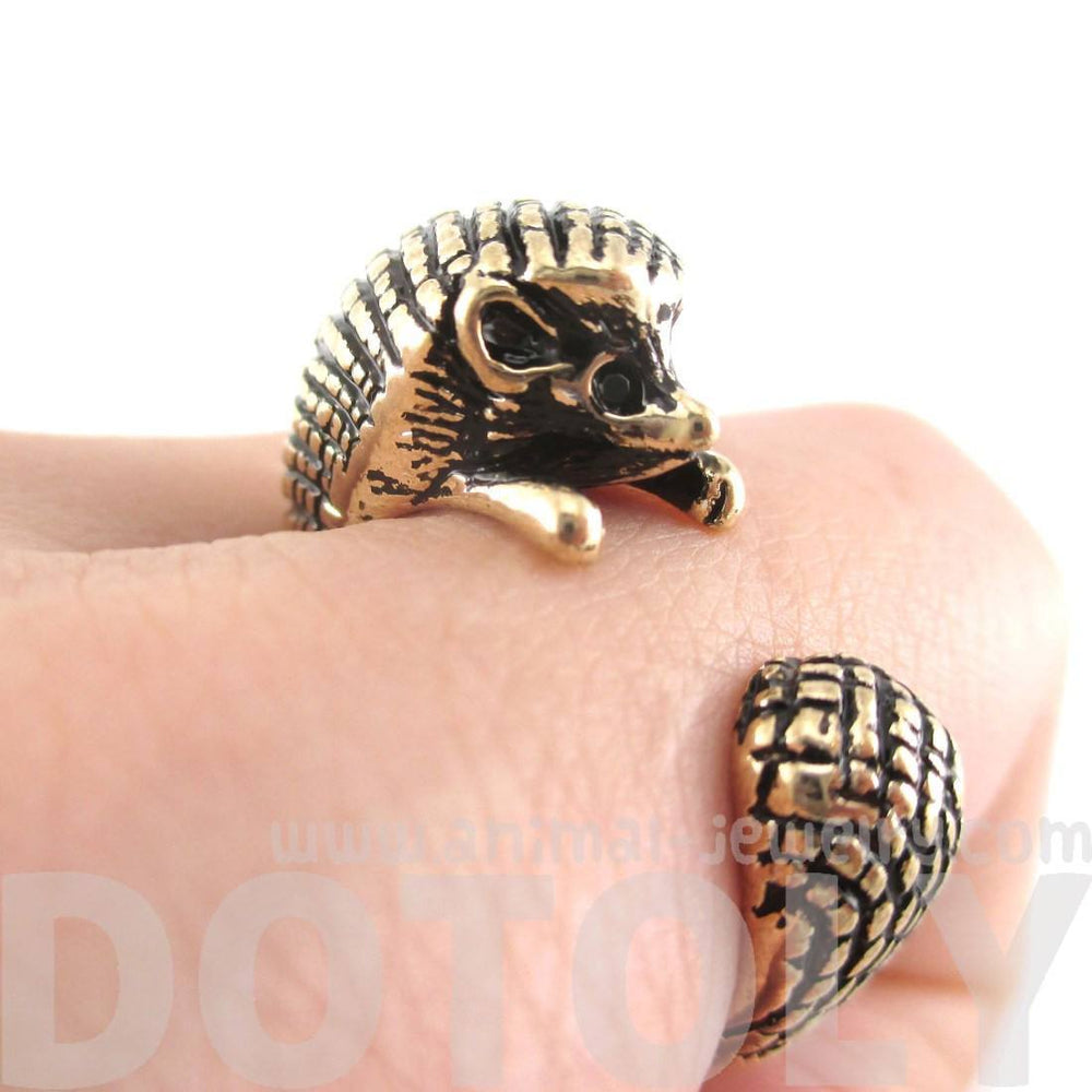 Hedgehog Porcupine Shaped Animal Wrap Ring in Shiny Gold | US Sizes 4 to 9 | DOTOLY