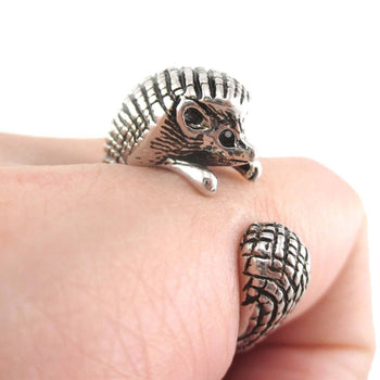 Hedgehog Porcupine Shaped Animal Wrap Ring in Shiny Silver | US Sizes 4 to 9 | DOTOLY