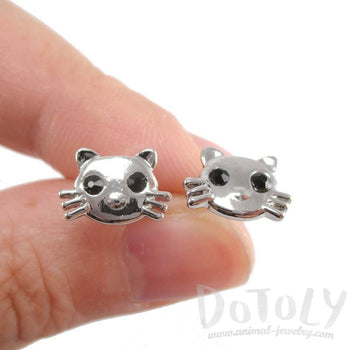 Hello Kitty Cat Face Shaped Stud Earrings in Silver | DOTOLY | DOTOLY