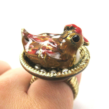 Mother Hen Realistic 3D Chicken Ring | Limited Edition Animal Jewelry | DOTOLY