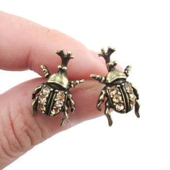 Hercules Rhino Beetle Shaped Rhinestone Stud Earrings in Brass | DOTOLY | DOTOLY