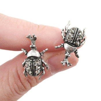 Hercules Rhino Beetle Shaped Rhinestone Stud Earrings in Silver | DOTOLY | DOTOLY