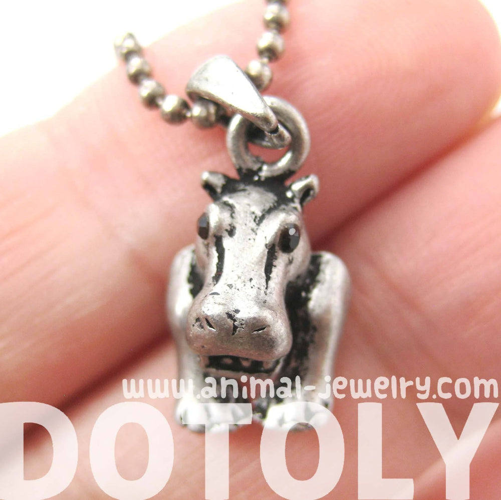 Hippopotamus Hippo Animal Charm Necklace in Silver | Animal Jewelry | DOTOLY
