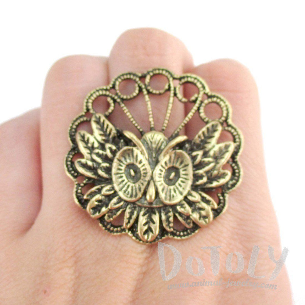 Horned Owl and Feather Medallion Shaped Adjustable Ring in Brass