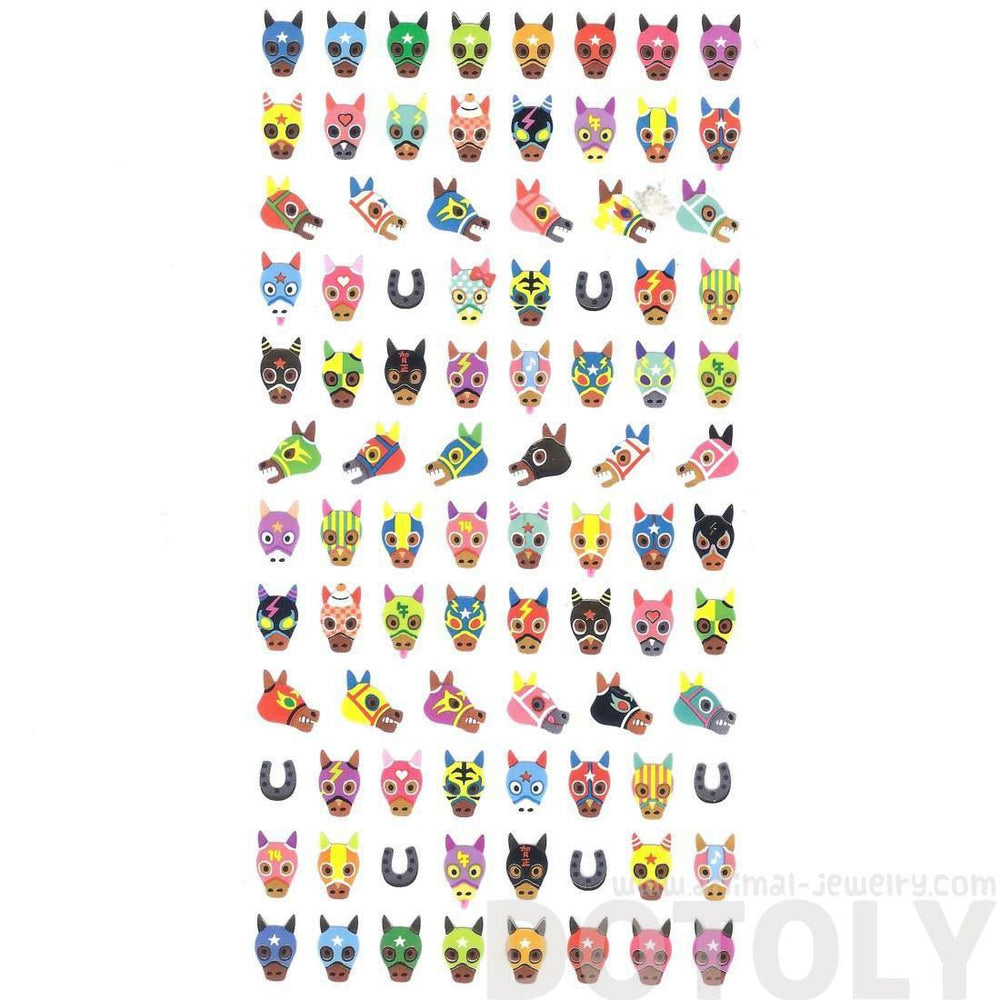 Horse with Colorful Masks Horse Racing Themed Animal Stickers for Scrapbooking and Decorating | DOTOLY