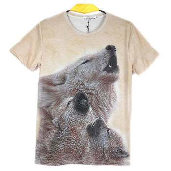 Howling Wolf Cubs Photo Graphic Print T-Shirt in Beige | Gifts for Animal Lovers | DOTOLY