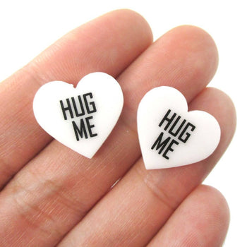 Hug Me Candy Heart Sweethearts Shaped Laser Cut Stud Earrings in White | DOTOLY