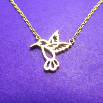 Hummingbird Outline Shaped Animal Charm Necklace in Gold | DOTOLY | DOTOLY