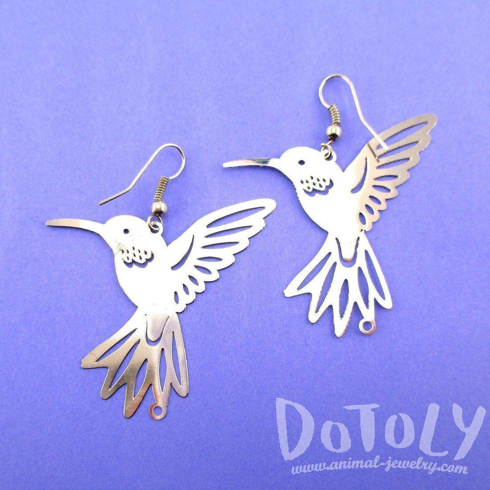 Hummingbird Silhouette Cut Out Shaped Dangle Earrings in Silver | Animal Jewelry | DOTOLY