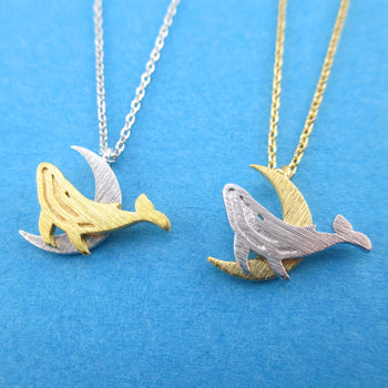 Majestic Humpback Whale on a Crescent Moon Shaped Pendant Necklace