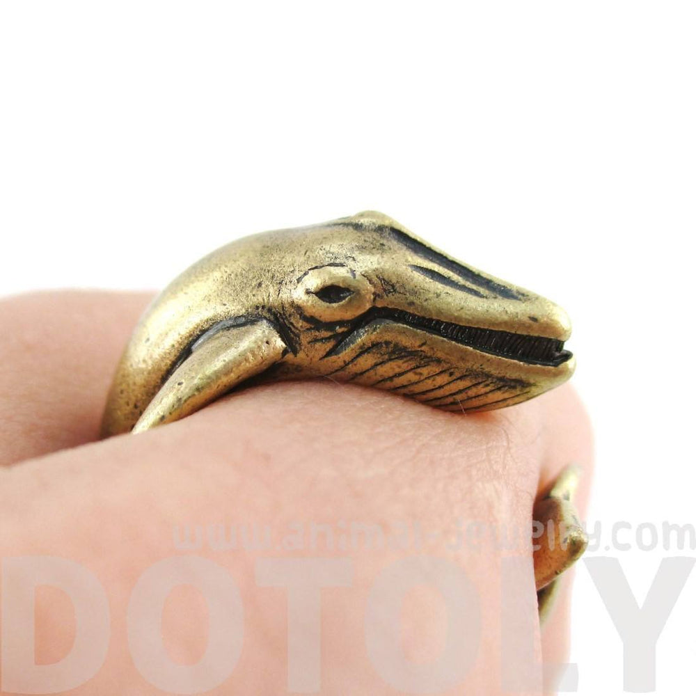 Humpback Whale Shaped Realistic Animal Wrap Ring in Brass | Size 3 to 8 | DOTOLY