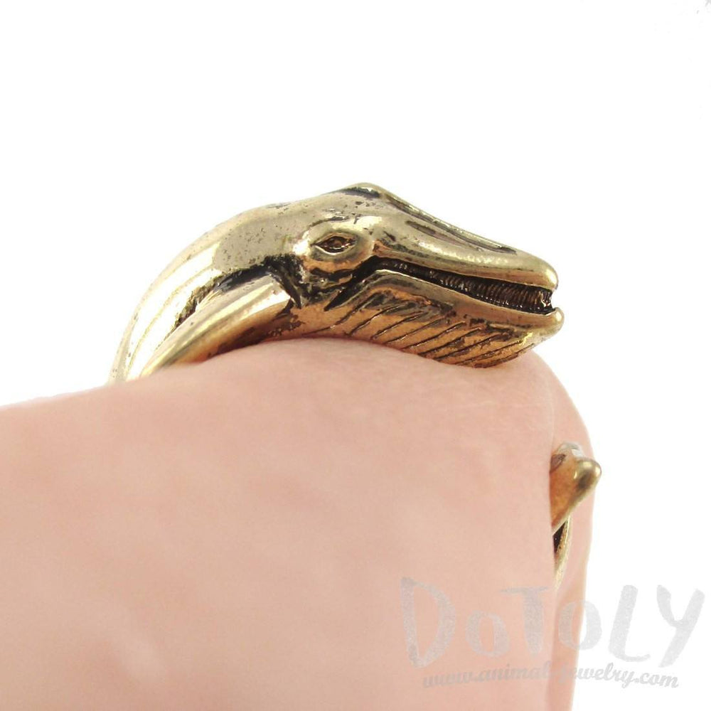 Humpback Whale Shaped Realistic Animal Wrap Ring in Shiny Gold | Size 3 to 8 | DOTOLY