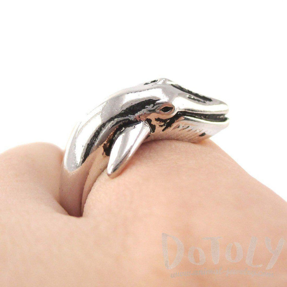 Humpback Whale Shaped Realistic Animal Wrap Ring in Shiny Silver | Size 3 to 8 | DOTOLY