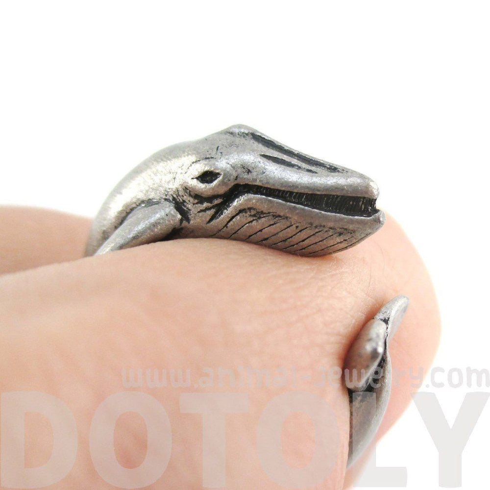 Humpback Whale Shaped Realistic Animal Wrap Ring in Silver | Size 3 to 8 | DOTOLY
