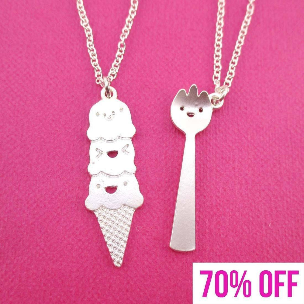 Hungry Girl Themed Ice Cream and Spork Necklace 2 Piece Set | SALE
