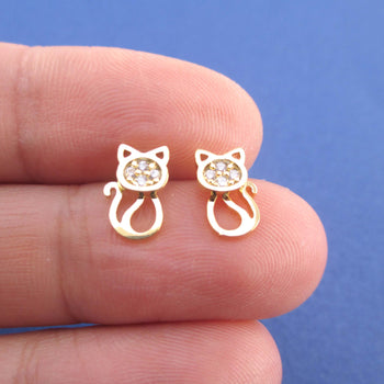 I Love Cats Kitten Shaped Rhinestone Stud Earrings in Gold | DOTOLY