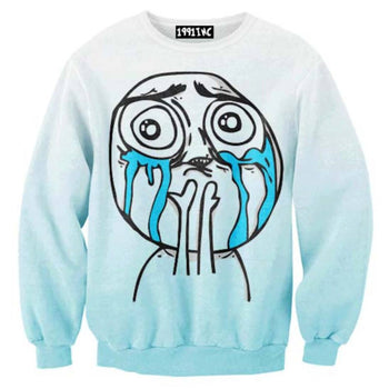 I Love My Followers Tumblr Meme Troll Face Print Crew Neck Pullover Sweater in Blue | DOTOLY | DOTOLY