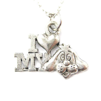 I Love My Puppy Dog Head Charm Necklace in Silver | MADE IN USA | DOTOLY