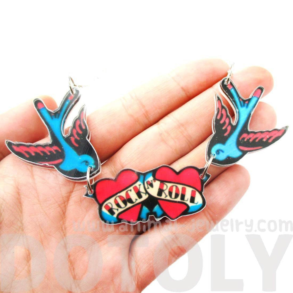 I Love Rock & Roll Sparrow Bird Shaped Tattoo Inspired Acrylic Pendant Necklace | DOTOLY