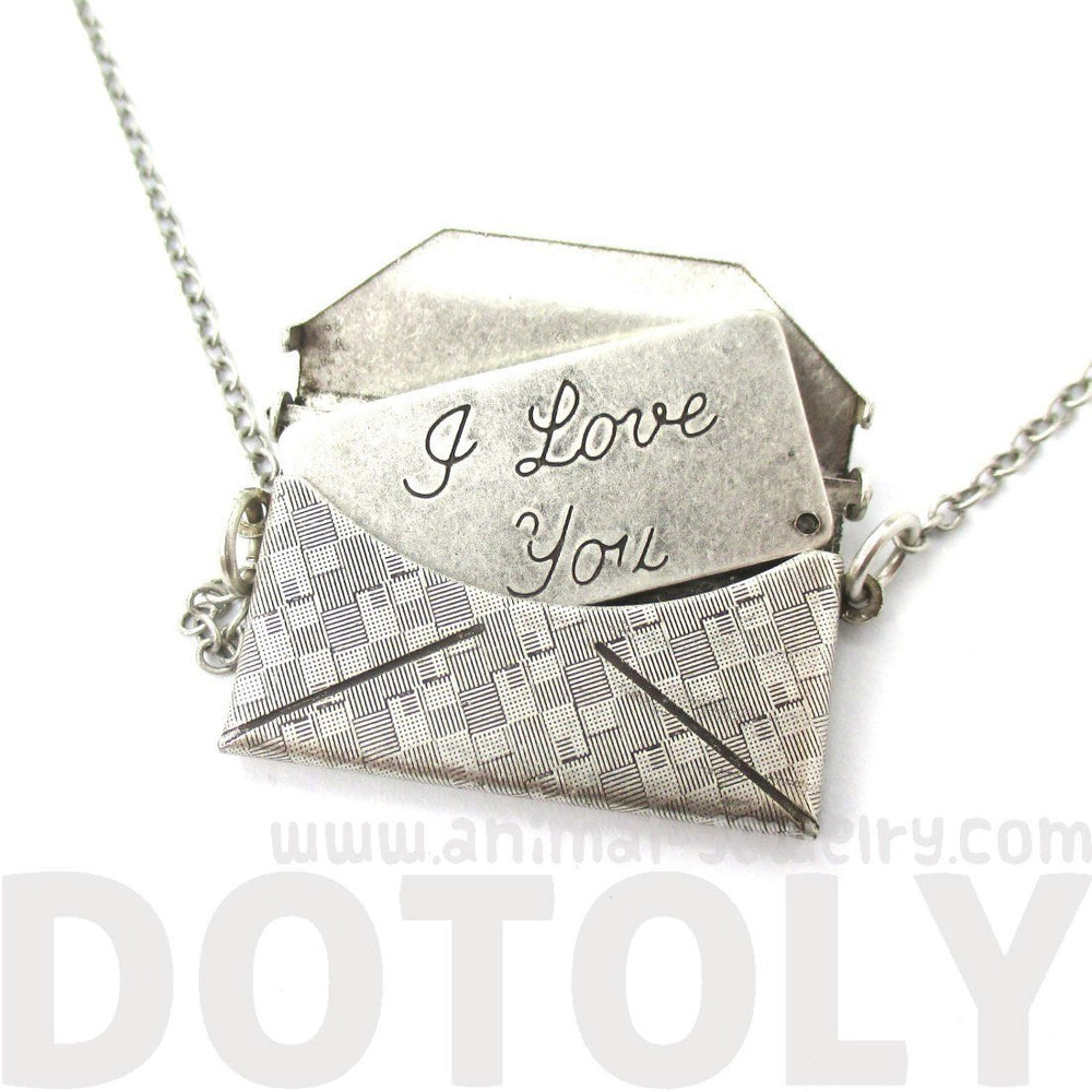 I Love You Letter Envelope Shaped Pendant Necklace in Silver | DOTOLY | DOTOLY