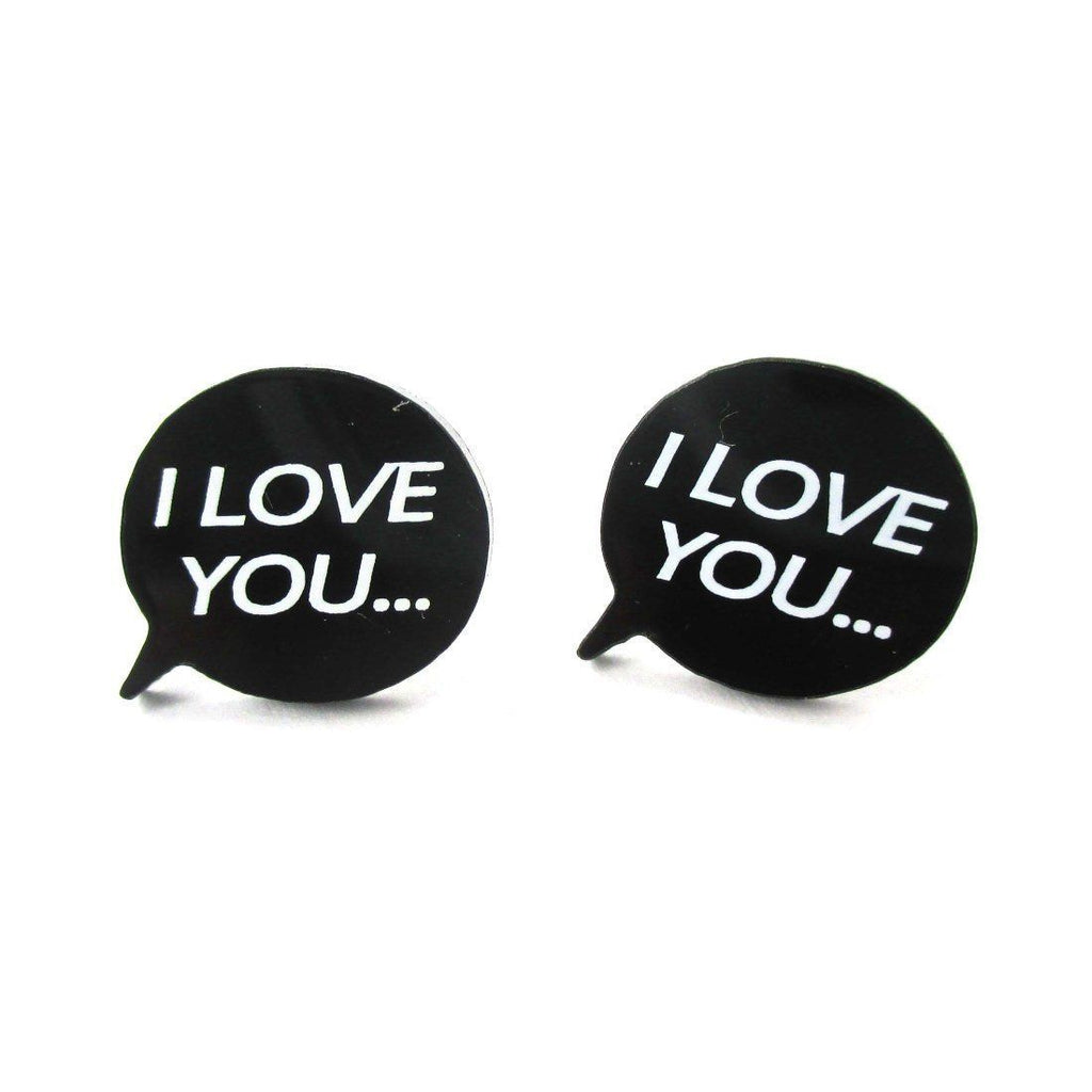 i love you speech bubble shaped laser cut stud earrings in black dotoly