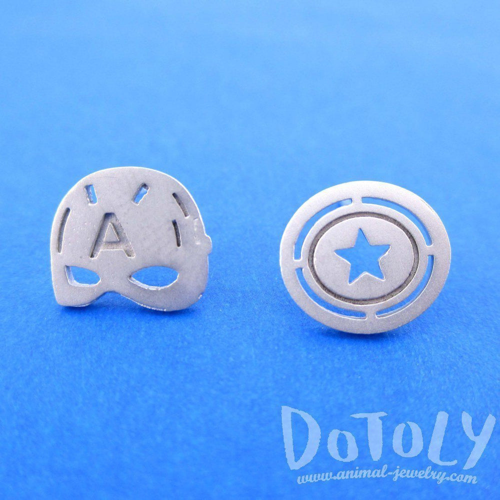 Iconic Captain America Mask Shield Shaped Stud Earrings in Silver | Allergy Free | DOTOLY