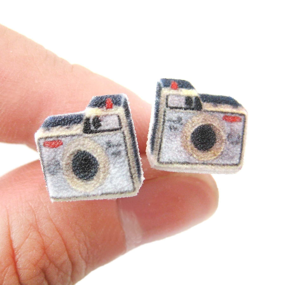 Illustrated Antique Camera Shaped Stud Earrings | Handmade Shrink Plastic | DOTOLY
