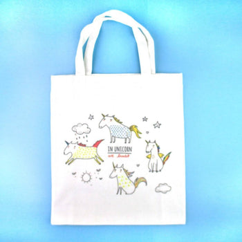 In Unicorns we Trust Unicorn Illustration Mini Canvas Lunch Tote Bag
