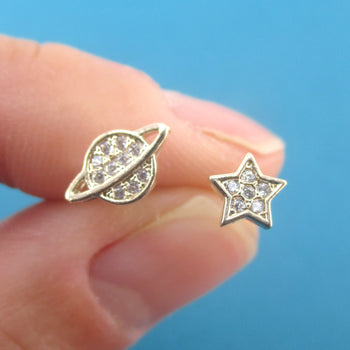 Intergalactic Space Themed Planet Saturn and Star Shaped Stud Earrings