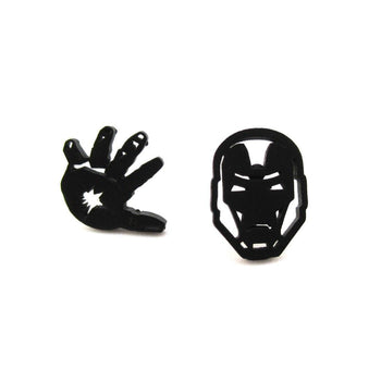 Iron Man Mask and Glove Shaped Stud Earrings in Black | Super Hero Jewelry | DOTOLY