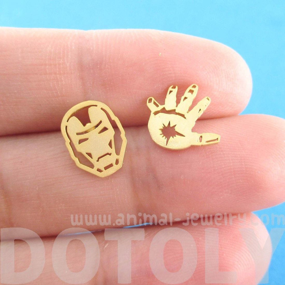 Iron Man Mask and Glove Shaped Stud Earrings in Gold | Super Hero Jewelry | DOTOLY