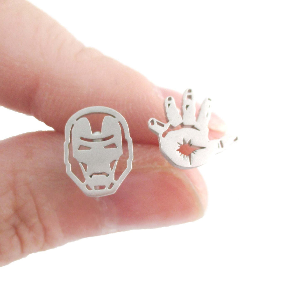 Iron Man Mask and Glove Shaped Stud Earrings in Silver | Super Hero Jewelry | DOTOLY