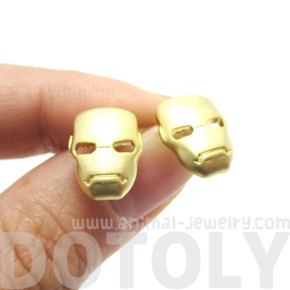 Iron Man Mask Shaped Stud Earrings in Gold | Super Heroes Themed Jewelry | DOTOLY
