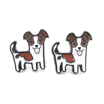 Jack Russell Puppy Shaped Enamel Stud Earrings for Dog Lovers | DOTOLY