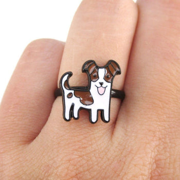 Jack Russell Shaped Enamel Adjustable Ring for Dog Lovers | DOTOLY
