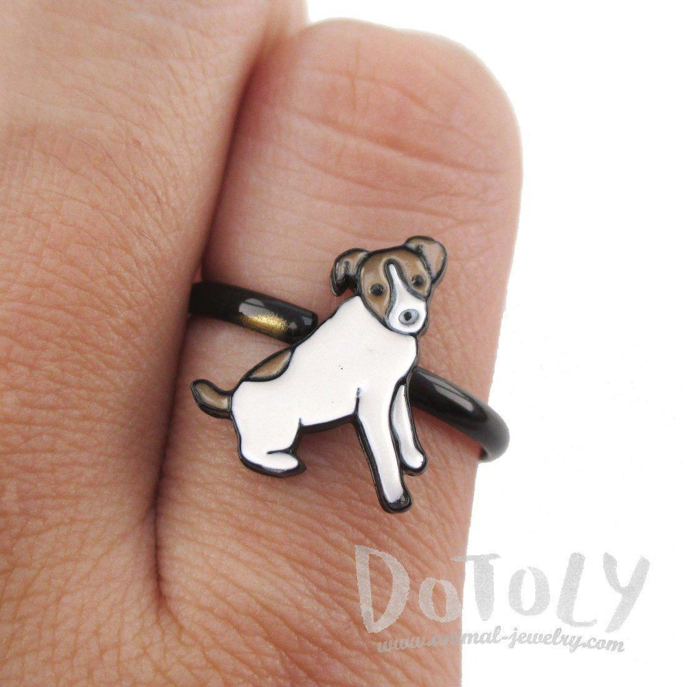 Jack Russell Terrier Shaped Dog Inspired Adjustable Ring | DOTOLY