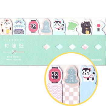 Japan Themed Memo Post it Index Tabs With Fortune Cat Castle and Japanese Icon Design | DOTOLY