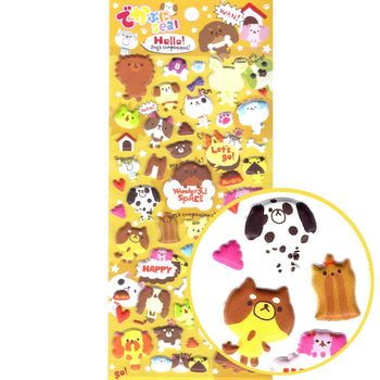 Japanese Kawaii Puppy Dog Illustrated Animal Shaped Puffy Stickers for Scrapbooking | DOTOLY