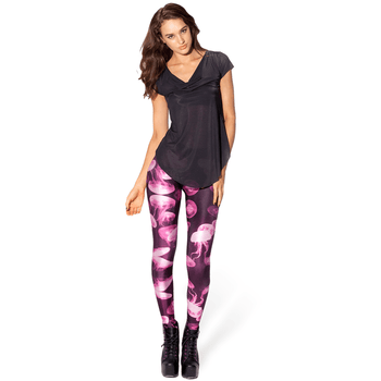 Jellyfish Digital Print Comfortable Stretch Leggings for Women in Shades of Pink | DOTOLY