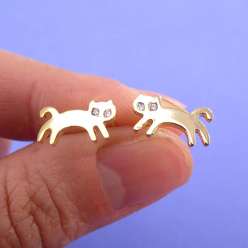 Jumping Kittens Cat Shaped Allergy Free Stud Earrings in Gold | DOTOLY