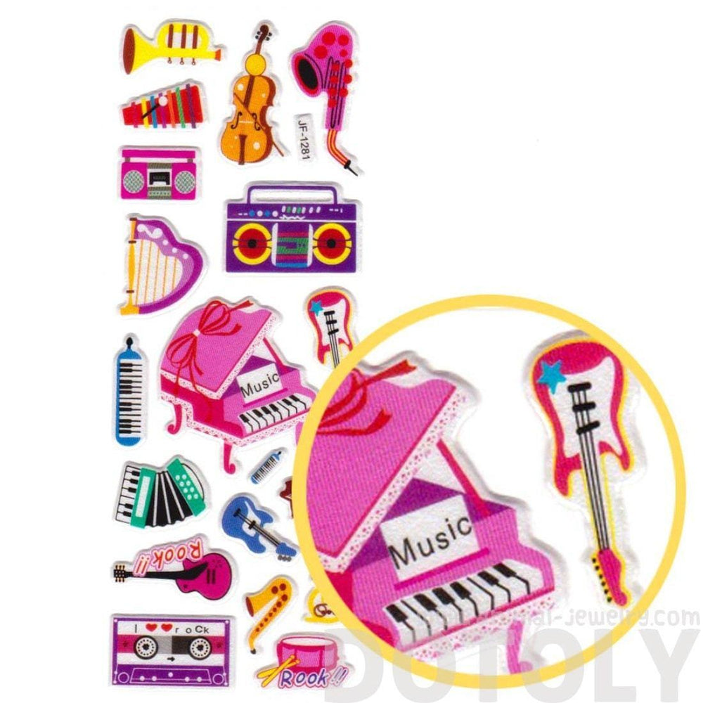 Kawaii Musical Instruments Piano Harp Guitar Shaped Music Themed Puffy Stickers for Kids | DOTOLY