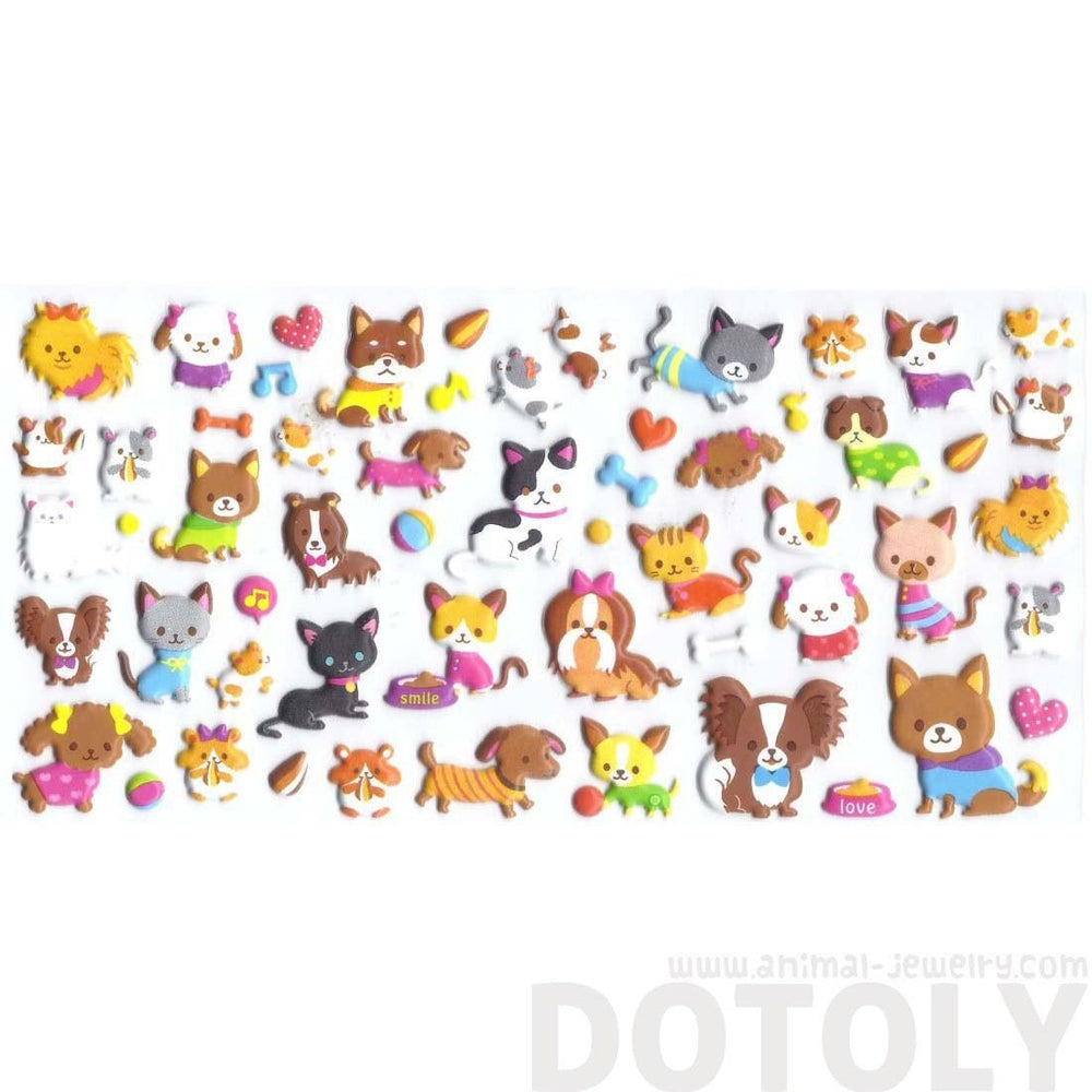 Kawaii Pet Themed Kitty Cat and Dog Shaped Animal Puffy Stickers from Japan | DOTOLY