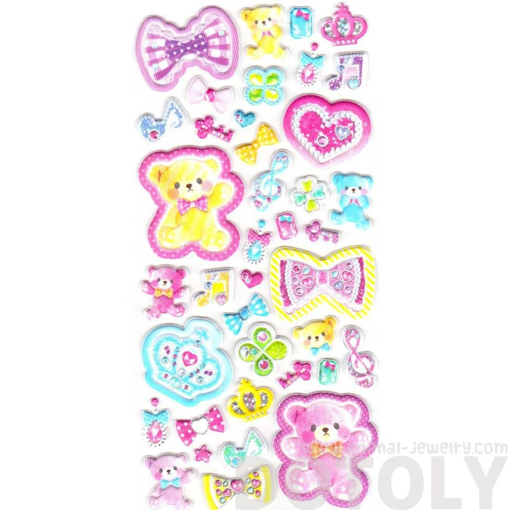 Kawaii Teddy Bears Crowns Hearts Bows Princess Themed Puffy Stickers for Scrapbooking | DOTOLY