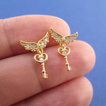 Key to My Heart Angel Feather Wings Shaped Stud Earrings in Gold