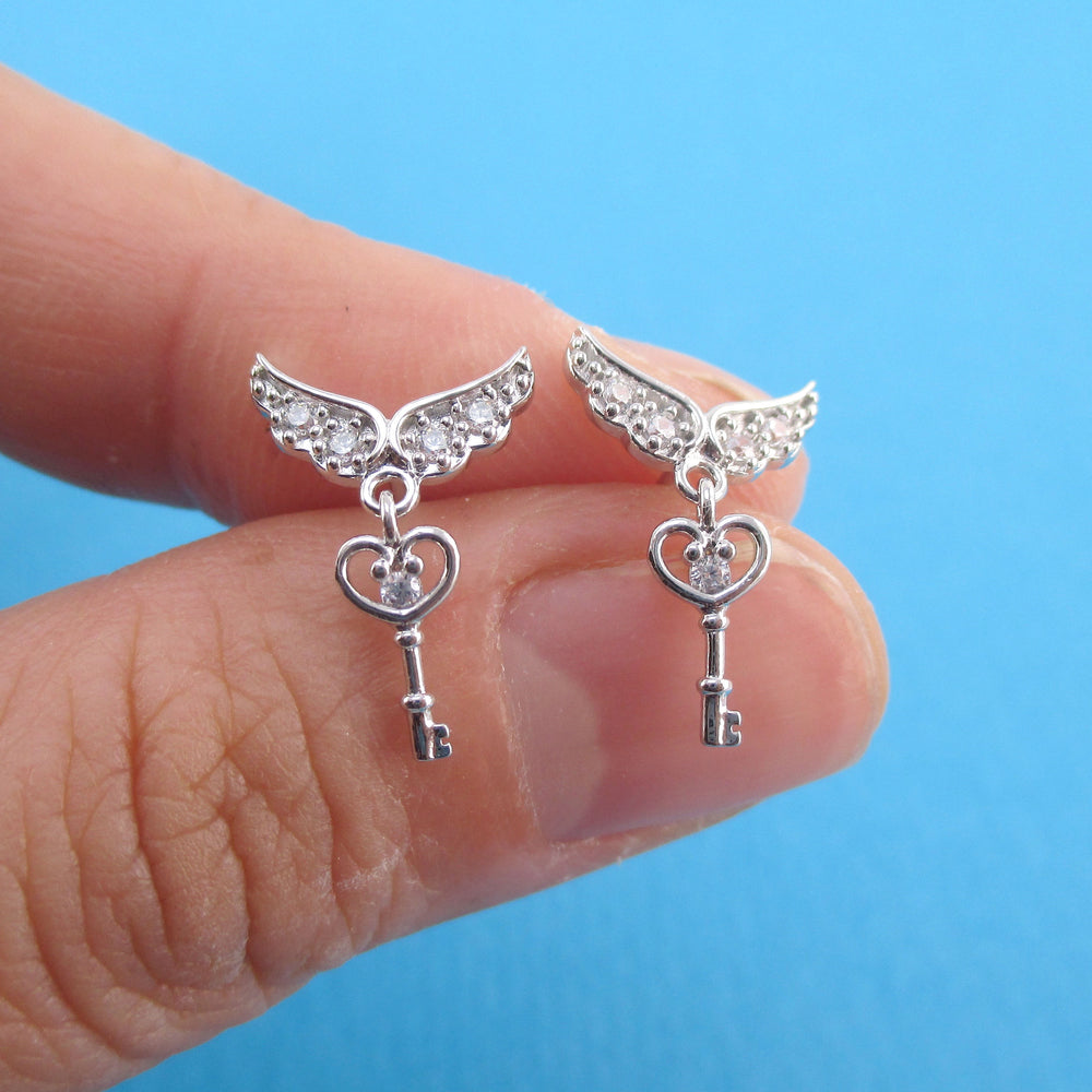 Key to My Heart Angel Feather Wings Shaped Stud Earrings in Silver