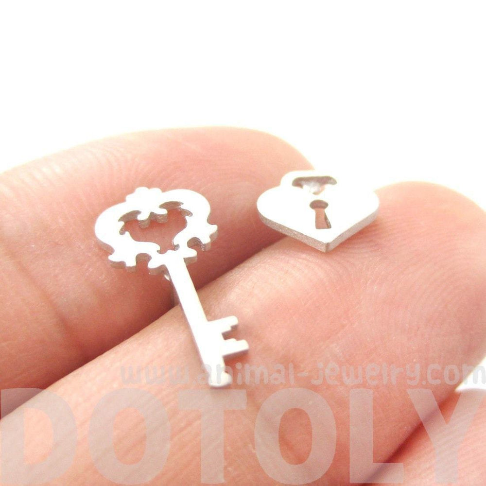 Key To My Heart Skeleton Key and Heart Shaped Lock Stud Earrings in Silver | DOTOLY | DOTOLY