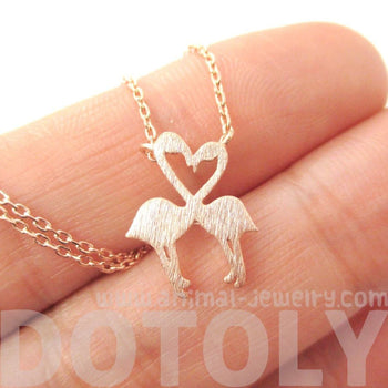Kissing Flamingos Animal Heart Shaped Silhouette Charm Necklace in Rose Gold | DOTOLY | DOTOLY