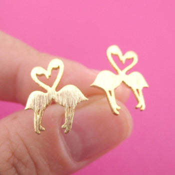 Kissing Flamingos Love Birds Silhouette Shaped Stud Earrings in Gold